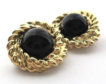 Vintage Double Twist Rope Embellished Black Cabochon Clip On Earrings, Gold Tone Black, Career Jewelry, Vintage Jewelry, Gift for Her