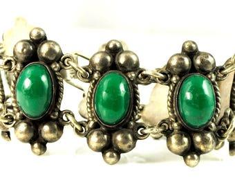 "Sterling Silver Mexico Green Onyx Hinged Elegant Bracelet 31mm 6 3/4"""