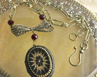 "Remember, vintage assemblage necklace, locket, altered, Victorian, mourning, red, altered, 24"""