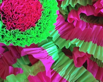 Bombay Pink and Light Green Ruffled Crepe Paper Streamers - 36 Feet - Party Hanging Decoration Supplies