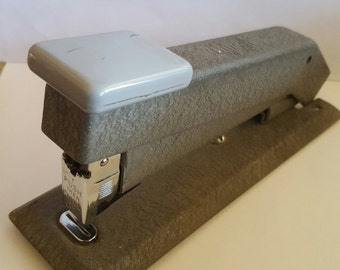 Vintage 1950's Bostitch industrial stapler, powder coat finish slate gray. medium duty/size, office stapler, NB24