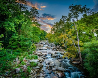 The Rocky Broad River at sunset, in Chimney Rock, North Carolina. Photo Print, Metal, Canvas, Framed.