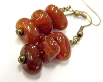 Red Agate Nugget Trio Dangling Earrings