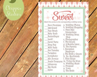 Instant Download- Candy Bridal Shower Printable Game. Bridal Shower Game. How Sweet It Is. Matching Candy Wedding Terms Game. Love is Sweet