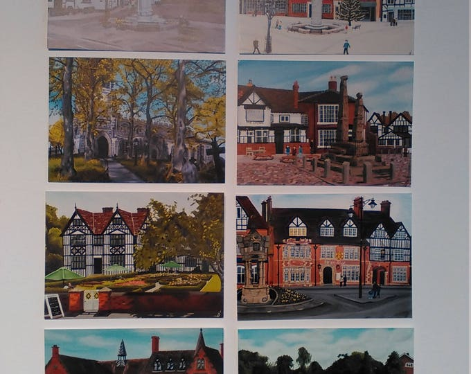 Sandbach Postcards - Selection of 8 Postcards on Invercote Paper featuring artwork by Christian Turner