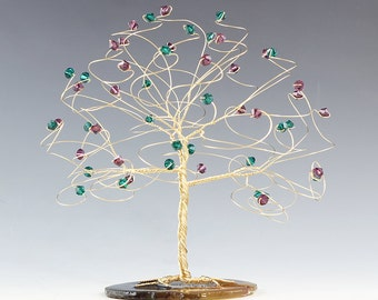 """Tree Cake Topper CUSTOM COLORS 6"""" x 6"""" in Swarovski Crystal Elements Made in Your Choice Silver Gold Copper and Crystal Colors"""