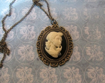 Black and Ivory Cameo Lady Necklace