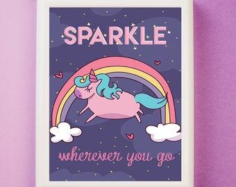Unicorn Print, Unicorn Illustration Nursery Art, Sparkle Wherever You Go,  Girls Room Decor, Unicorn wall art, Nursery art, Magical Wall Art
