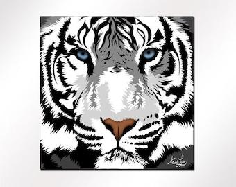 "White Tiger Magnet 2.25"" -  Wild at HeArt Collection ""Harimau"", White Tiger Art Gifts, Refrigerator Fridge Magnet"