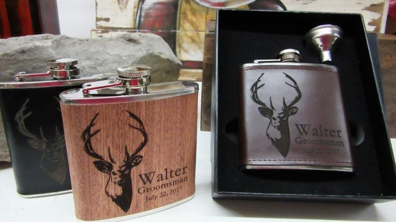 Engraved Wedding Party Gifts: Personalized Flask Groomsmen Gift Set Wedding Party Favors