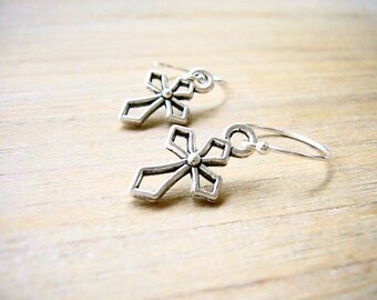 Silver Cross Earrings, Cross Earrings, Dainty Gothic Earrings, Bridesmaid Gift, Minimalist Everyday Earrings, Christian Earrings, Cute Gift