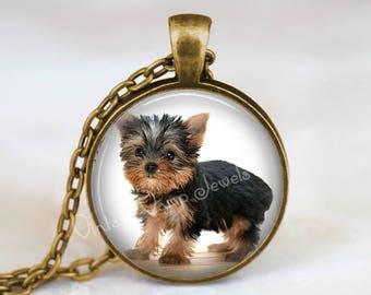 Yorkie necklace dog necklace puppy necklace yorkshire yorkie necklace yorkshire terrier gift for dog lover yorkie pendant necklace glass art pendant necklace aloadofball Gallery