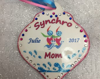 Synchronized swimmer or mom personalized ornament