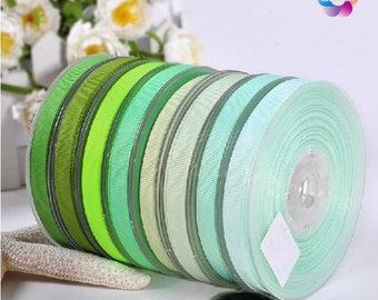 "10 yards, 1/4"", 3/8"", 5/8'', 3/4'', 7/8'', 1'', Grosgrain Ribbon Kiwi, Mint, Seafoam Green, Pastel Green, Fern , Parrot ,Sage for wedding,"