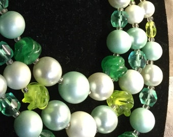 Three Stranded Green White Glass Lucite Bead Multi Strand Necklace Lime Blue Round Twisted Beads Three Strands Mid Century Modern Style