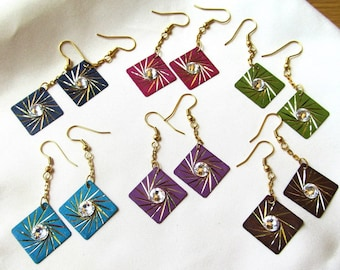 20mm Diamond Cut Colored Brass Dangles with Swarovski Crystals in Choice of Colors