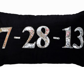 Velvet Pillow, Remember the Day, Velvet Cushion, Personalize with a special date, Save the Date Pillow, Anniversary Pillow, Wedding Date