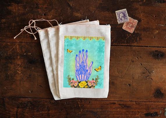 Hand of Hamsa Muslin Bags - Art Bag - Pouch - Gift Bag - 5x7 bag - Hand of Protection - Hand of God