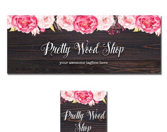 Facebook cover photo, Timeline cover, Banner set for facebook, Pretty wood and peony floral design, free personalized