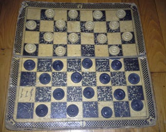 Vintage checker board with checkers