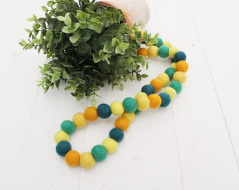 "Handmade 32"" Summer Felt Ball Garland"