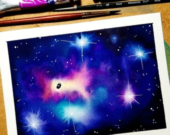Dr. Who TARDIS watercolor painting, sci fi painting, watercolor galaxy, galaxy art, science fiction art, original watercolor painting