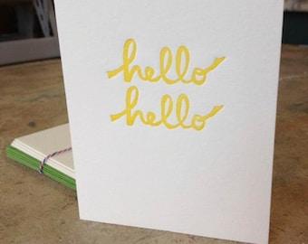 Letterpress Hello Hello Folded Note (set of 5)