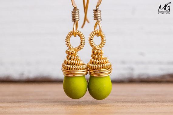Green Wire Wrapped Earrings in 14K Gold Fill
