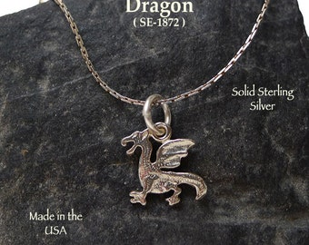 Sterling Silver Dragon Charm, Welsh Dragon Necklace, .925 Silver Dragon Jewelry, Classic Winged Dragon, Fantasy Gift -