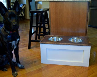Dog Feeder With Storage- Rustic dog feeder- Farmhouse Style-