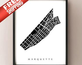 Marquette Map - Madison, WI Neighbourhood Art Print