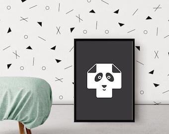 Swiss Cross Poster / Plus Sign Minimalist Nursery Poster / Black and White Kids Poster / Panda Bear Wall Art / Monochrome Print