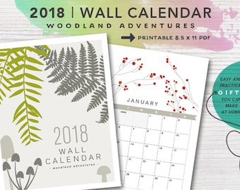 2018 PRINTABLE Nature Wall Calendar