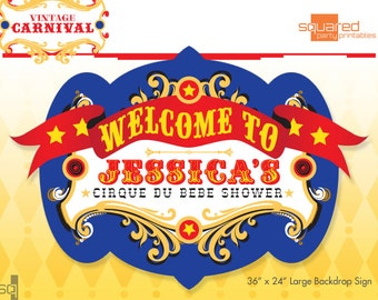 Circus Baby Shower Backdrop - Cirque du Bebe Printable Sign - DIY Print - Primary Colors - Vintage Carnival Party Sign