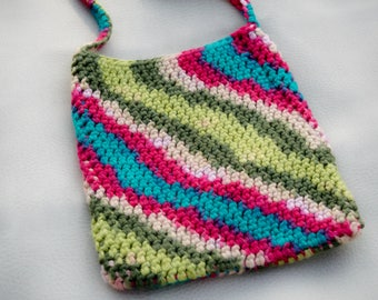 Multi-colored Cross-body Cell Phone Pouch, Crocheted Cell Phone Bag, Small Purse, Handmade from Acrylic Yarn