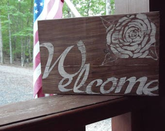 Welcome sign/ Welcome wood statue/ Door greeting sign/ Wood welcome sign