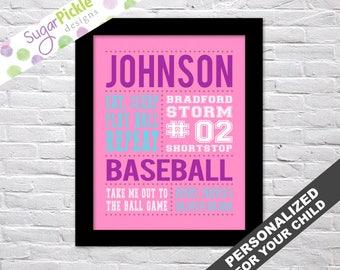 Baseball art, Girl Baseball Art, Baseball Wall Art, Team Gifts, Personalized Baseball Subway Art, Baseball Gifts, Baseball Decor printable,