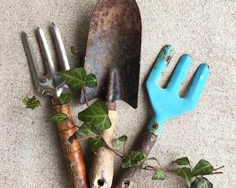 Rustic Garden Tools / Garden Shed Decor / Garden Shovel and 2 Forks / Wood Handle Shovel / Vintage Garden Hand Tools / Spring Garden