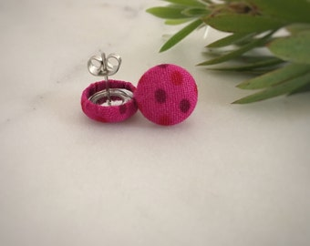 Pink Earrings. Pink Polka Dots. Light and Dark Pink. Handmade Earrings. Fabric Covered Button Earrings. Stud Earrings. Clip On Earrings.