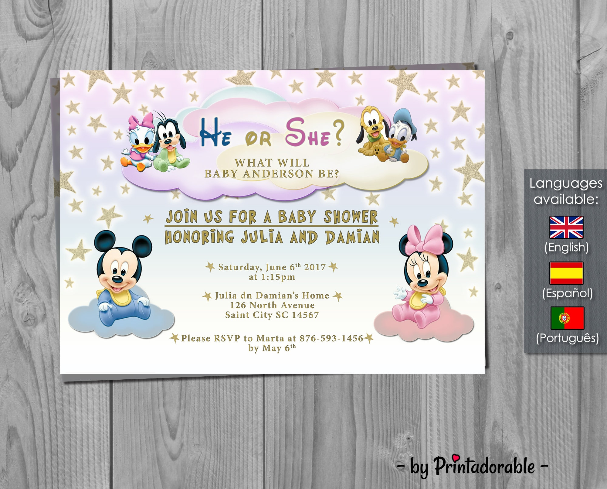 Lovely Baby Disney Baby Shower Invitation   Gender Reveal   Mickey, Minnie,  Donald, Pluto And Goofy Invite   Digital Printable Fully Customizable