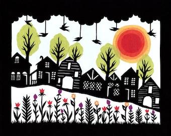 Hillside - 8 x 10 inch Cut Paper Art Print