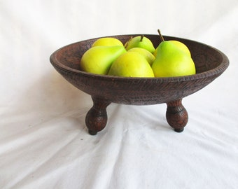 Vintage Faux Wood Ornate Pedestal Fruit Bowl Vintage Centerpiece Vintage Table Decor Vintage Kitchen Display Decor Faux Ornate Display Bowl