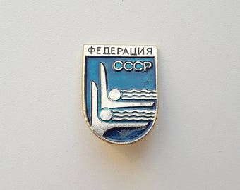 Synchronized swimming sport federation USSR pin // synchronous swimming soviet badge
