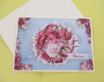 Card 3D Vintage Roses on blue background