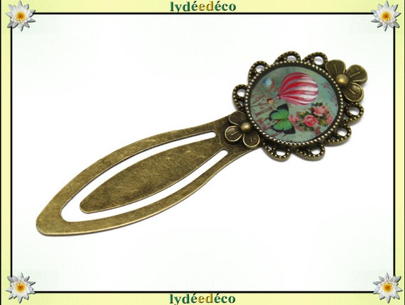 Bookmarks resin vintage retro hot air balloon Green Pink White Flower Butterfly bronze diameter 20mm birthday mother's day gift