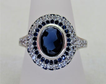 925 Sterling Silver, Sapphire Ring Sizes 6-10