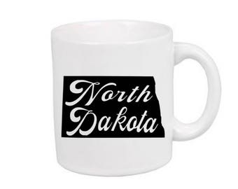 North Dakota Home State Outline Mug Coffee Cup Gift Home Decor Jenuine Crafts Custom Colors