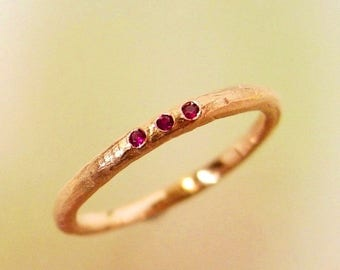 Rose Gold Ruby Wedding Band, Stacking Ring, Wedding Ring, Engagement Ring, Thin Band, Three Stone Ring, Womens Wedding Ring, Made to order