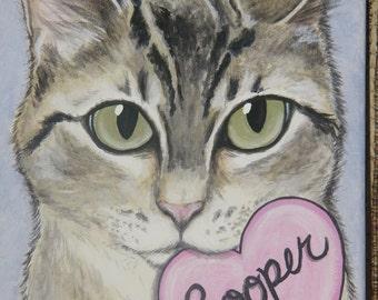 Custom Pet Portrait Painting 8x10 hand painted, pet loss, pet memorial, Valentine's gift, best friend