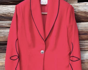 Elegant Red w/ Black Piping Vintage Cropped Bolero Jacket Lined One SUPER PRETTY